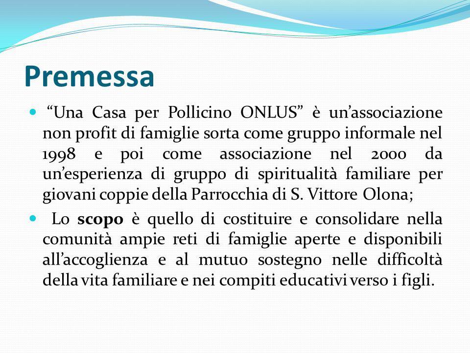 Premessa Una Casa per Pollicino ONLUS è unassociazione non profit di famiglie sorta come gruppo informale nel 1998 e poi come associazione nel 2000 da