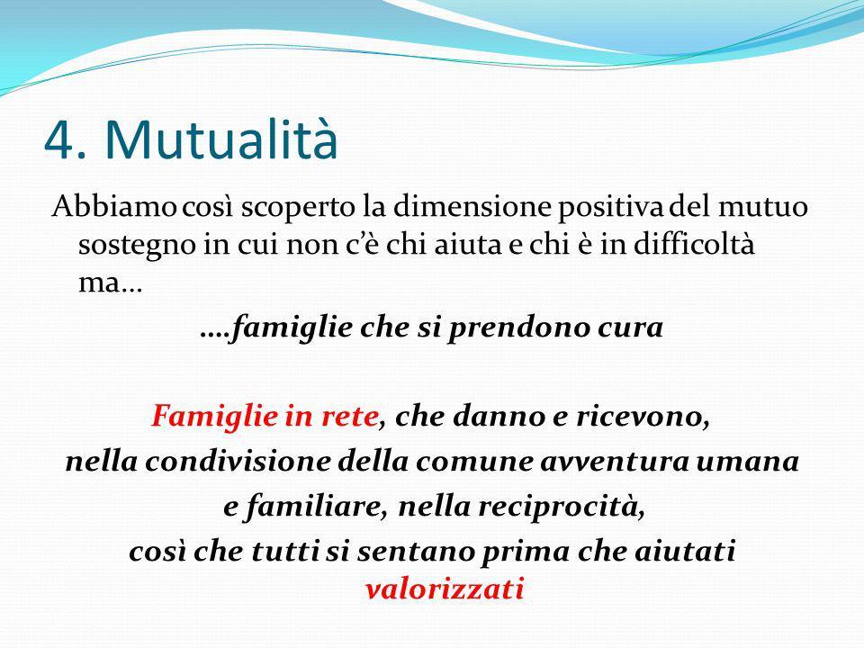 4. Mutualità Abbiamo così scoperto la dimensione positiva del mutuo sostegno in cui non cè chi aiuta e chi è in difficoltà ma… ….famiglie che si prend