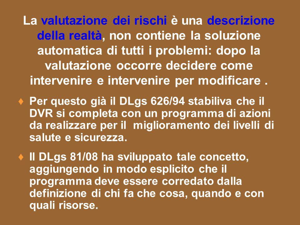 La valutazione dei rischi è una descrizione della realtà, non contiene la soluzione automatica di tutti i problemi: dopo la valutazione occorre decide