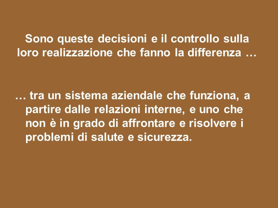Sono queste decisioni e il controllo sulla loro realizzazione che fanno la differenza … … tra un sistema aziendale che funziona, a partire dalle relaz