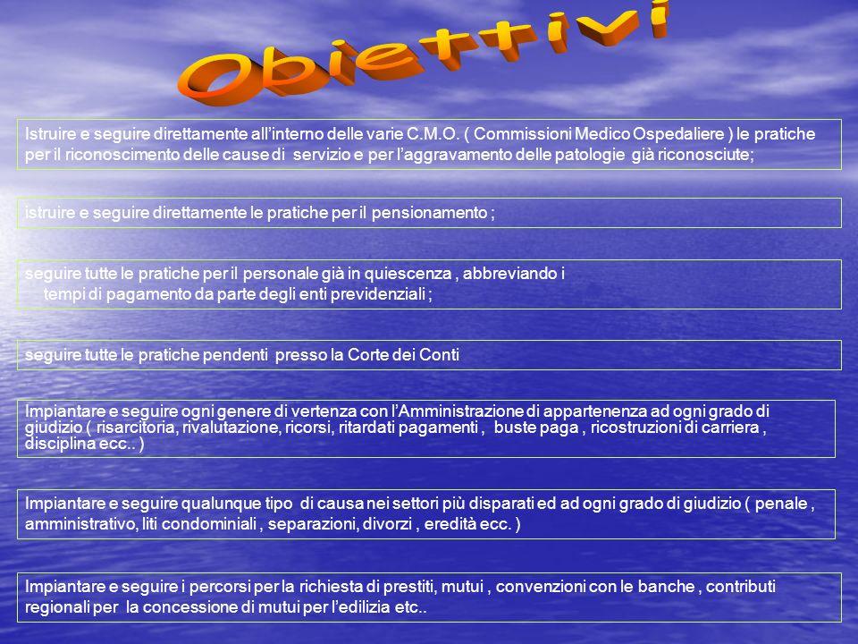 Istruire e seguire direttamente allinterno delle varie C.M.O.
