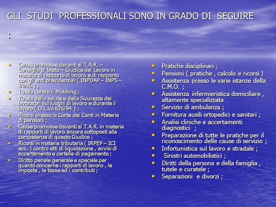 GLI STUDI PROFESSIONALI SONO IN GRADO DI SEGUIRE : Cause promosse davanti al T.A.R.