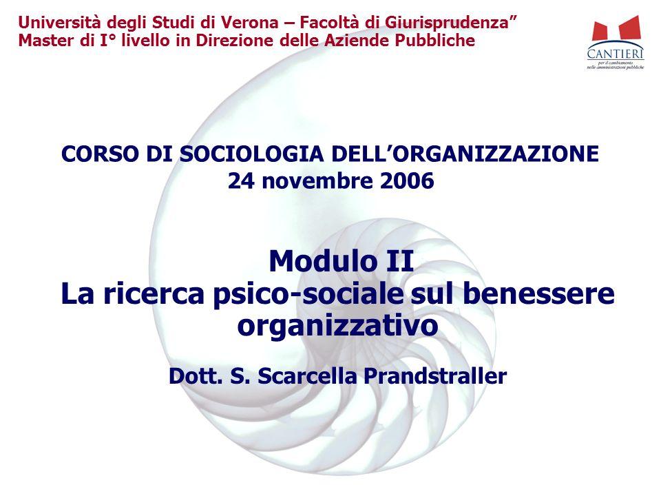 Università degli Studi di Verona – Facoltà di Giurisprudenza Master di I° livello in Direzione delle Aziende Pubbliche Modulo II La ricerca psico-soci