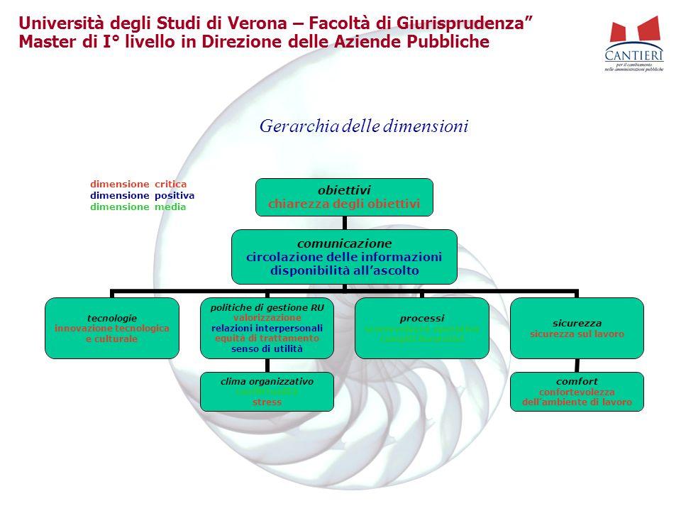 Università degli Studi di Verona – Facoltà di Giurisprudenza Master di I° livello in Direzione delle Aziende Pubbliche Gerarchia delle dimensioni obie