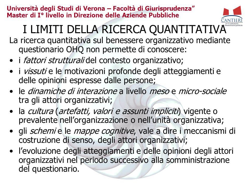 Università degli Studi di Verona – Facoltà di Giurisprudenza Master di I° livello in Direzione delle Aziende Pubbliche I LIMITI DELLA RICERCA QUANTITA