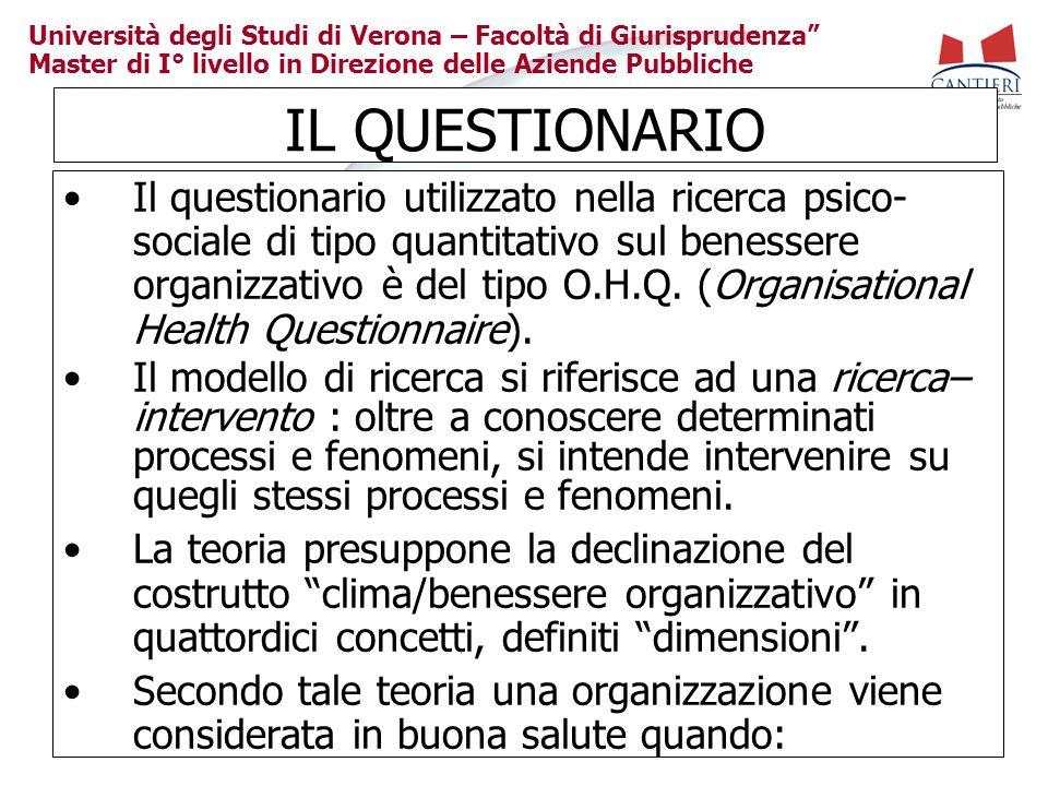 Università degli Studi di Verona – Facoltà di Giurisprudenza Master di I° livello in Direzione delle Aziende Pubbliche IL QUESTIONARIO Il questionario