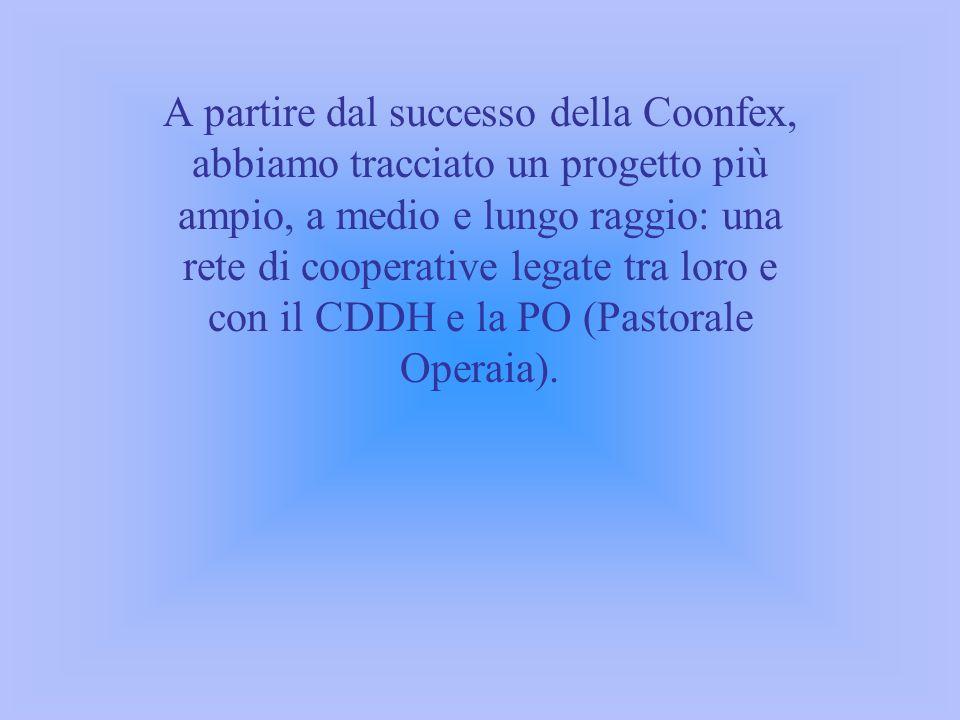 A partire dal successo della Coonfex, abbiamo tracciato un progetto più ampio, a medio e lungo raggio: una rete di cooperative legate tra loro e con i