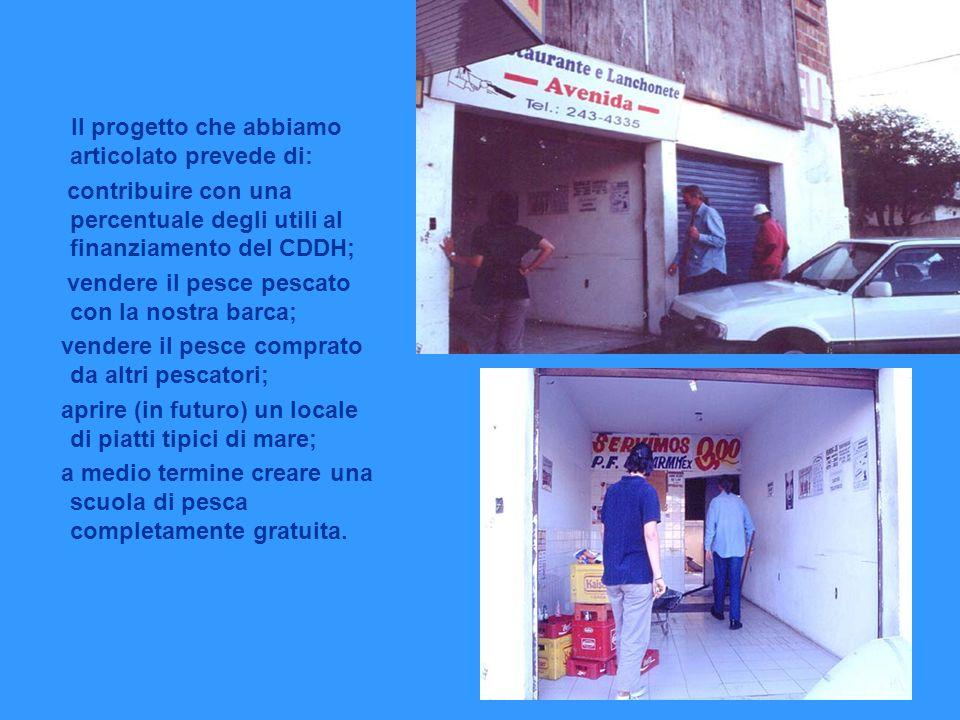Il progetto che abbiamo articolato prevede di: contribuire con una percentuale degli utili al finanziamento del CDDH; vendere il pesce pescato con la