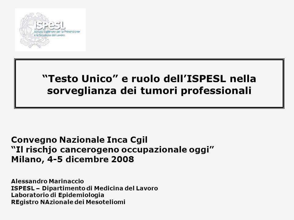 Testo Unico e ruolo dellISPESL nella sorveglianza dei tumori professionali Convegno Nazionale Inca Cgil Il rischjo cancerogeno occupazionale oggi Mila