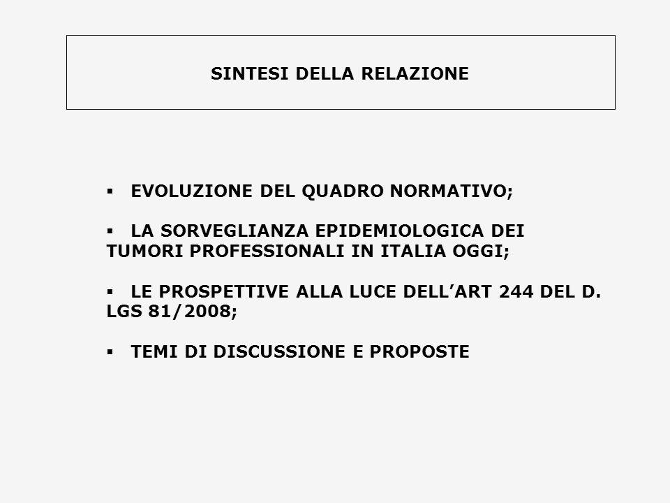 EVOLUZIONE DEL QUADRO NORMATIVO; LA SORVEGLIANZA EPIDEMIOLOGICA DEI TUMORI PROFESSIONALI IN ITALIA OGGI; LE PROSPETTIVE ALLA LUCE DELLART 244 DEL D. L