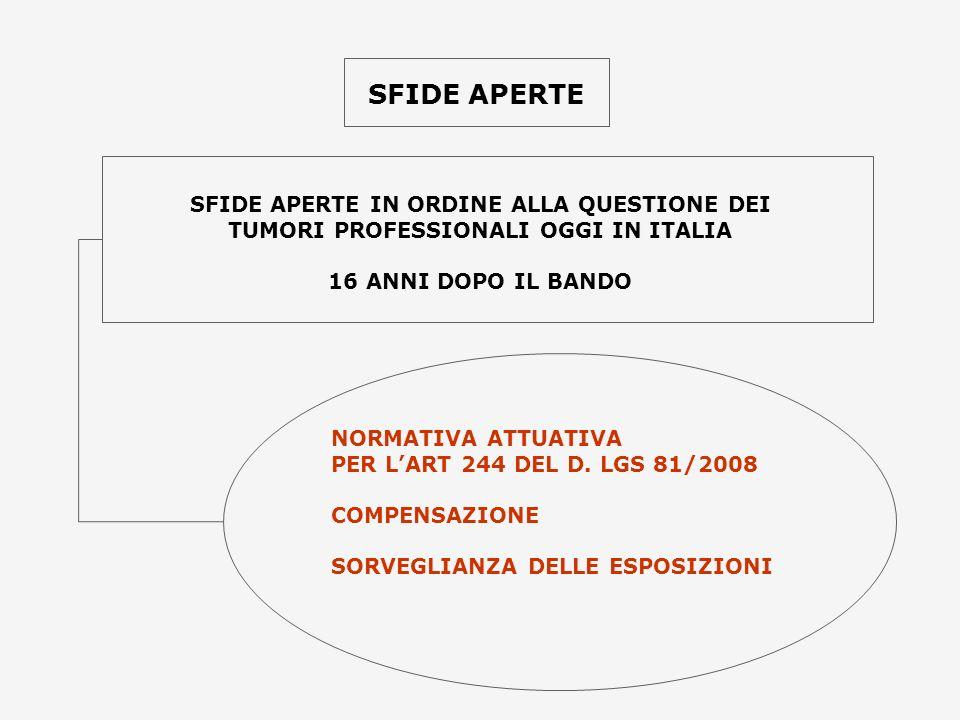 SFIDE APERTE SFIDE APERTE IN ORDINE ALLA QUESTIONE DEI TUMORI PROFESSIONALI OGGI IN ITALIA 16 ANNI DOPO IL BANDO NORMATIVA ATTUATIVA PER LART 244 DEL