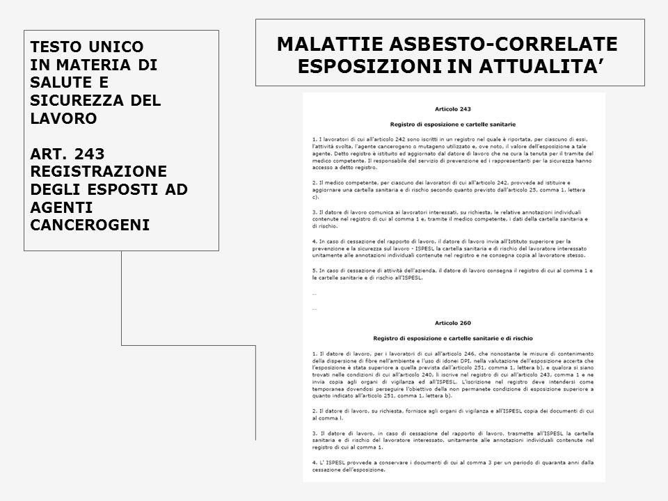 TESTO UNICO IN MATERIA DI SALUTE E SICUREZZA DEL LAVORO ART. 243 REGISTRAZIONE DEGLI ESPOSTI AD AGENTI CANCEROGENI MALATTIE ASBESTO-CORRELATE ESPOSIZI