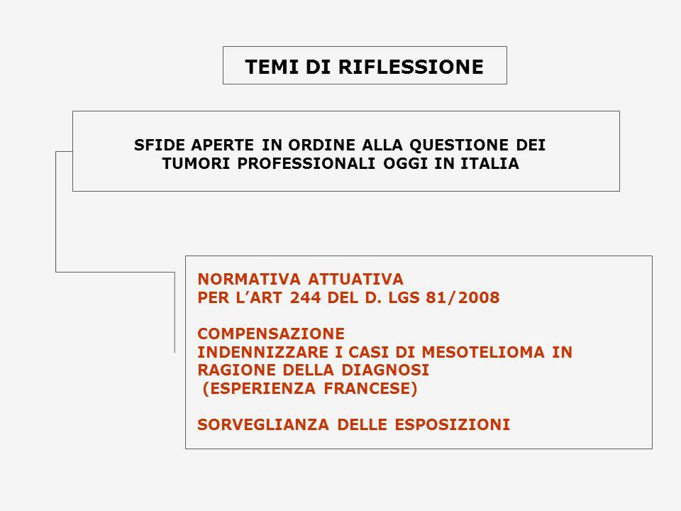 TEMI DI RIFLESSIONE SFIDE APERTE IN ORDINE ALLA QUESTIONE DEI TUMORI PROFESSIONALI OGGI IN ITALIA NORMATIVA ATTUATIVA PER LART 244 DEL D. LGS 81/2008