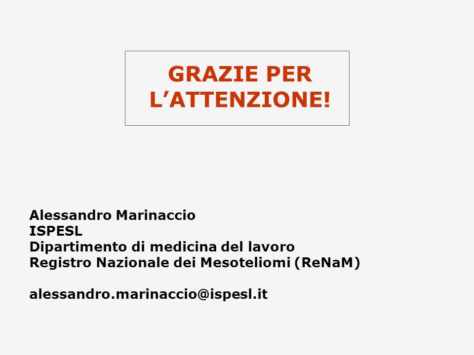 GRAZIE PER LATTENZIONE! Alessandro Marinaccio ISPESL Dipartimento di medicina del lavoro Registro Nazionale dei Mesoteliomi (ReNaM) alessandro.marinac