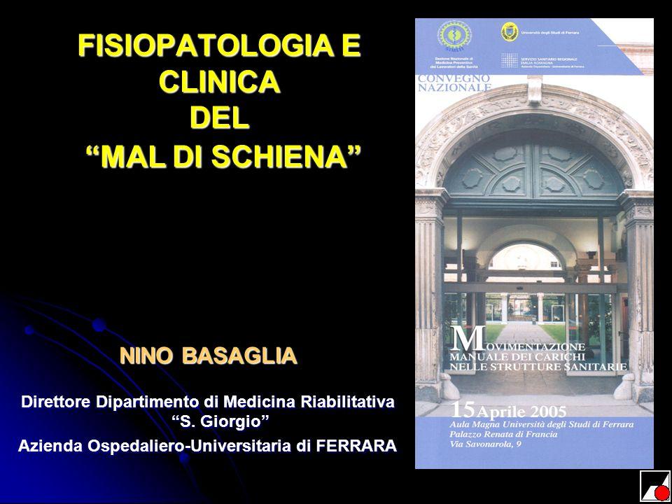 FISIOPATOLOGIA E CLINICA DEL MAL DI SCHIENA NINO BASAGLIA Direttore Dipartimento di Medicina Riabilitativa S. Giorgio Azienda Ospedaliero-Universitari