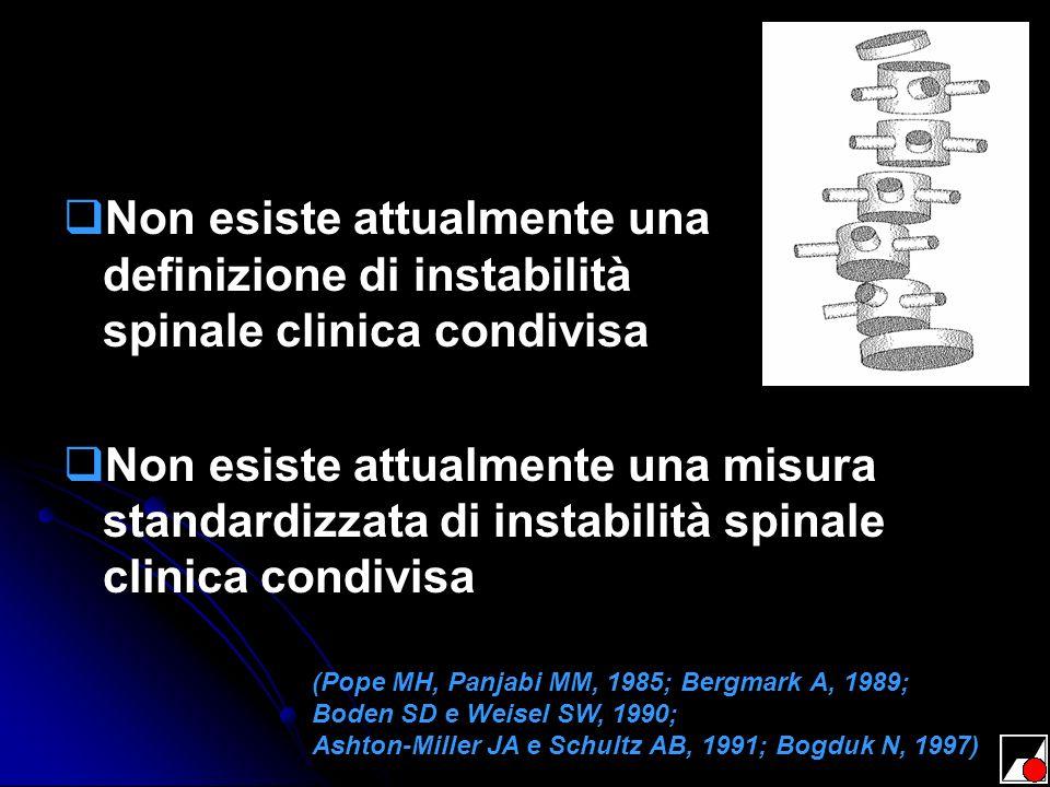 Non esiste attualmente una definizione di instabilità spinale clinica condivisa Non esiste attualmente una misura standardizzata di instabilità spinal