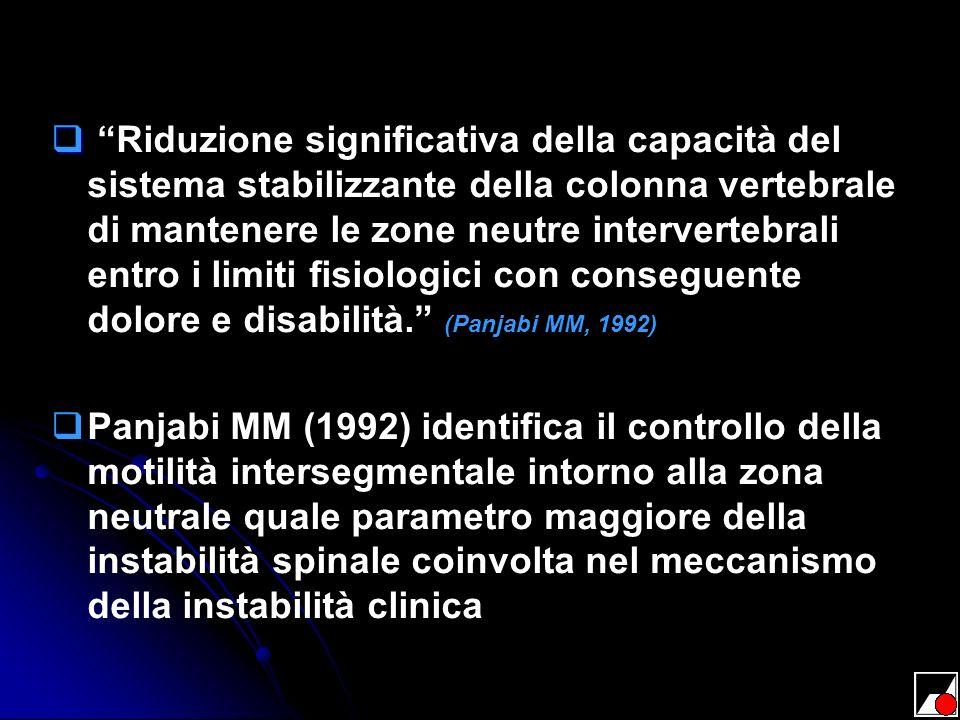 Riduzione significativa della capacità del sistema stabilizzante della colonna vertebrale di mantenere le zone neutre intervertebrali entro i limiti f