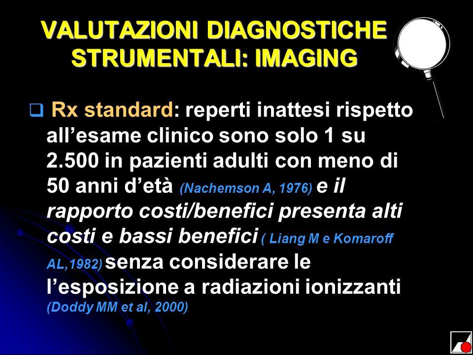 VALUTAZIONI DIAGNOSTICHE STRUMENTALI: IMAGING Rx standard: reperti inattesi rispetto allesame clinico sono solo 1 su 2.500 in pazienti adulti con meno