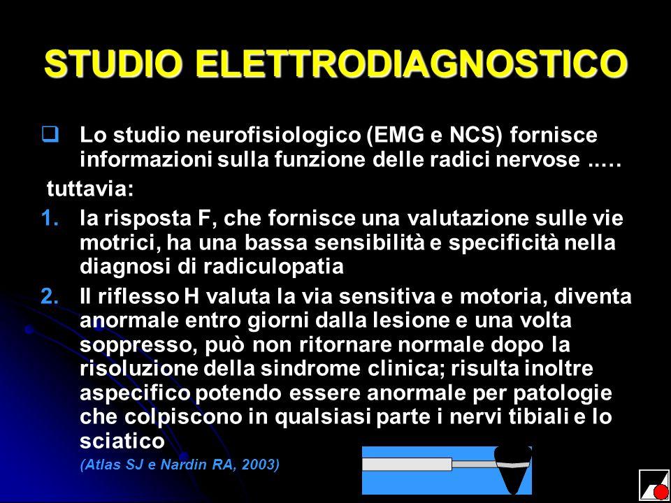 STUDIO ELETTRODIAGNOSTICO Lo studio neurofisiologico (EMG e NCS) fornisce informazioni sulla funzione delle radici nervose..… tuttavia: 1. 1.la rispos
