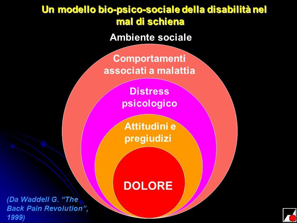 DOLORE Attitudini e pregiudizi Distress psicologico Comportamenti associati a malattia Ambiente sociale Un modello bio-psico-sociale della disabilità
