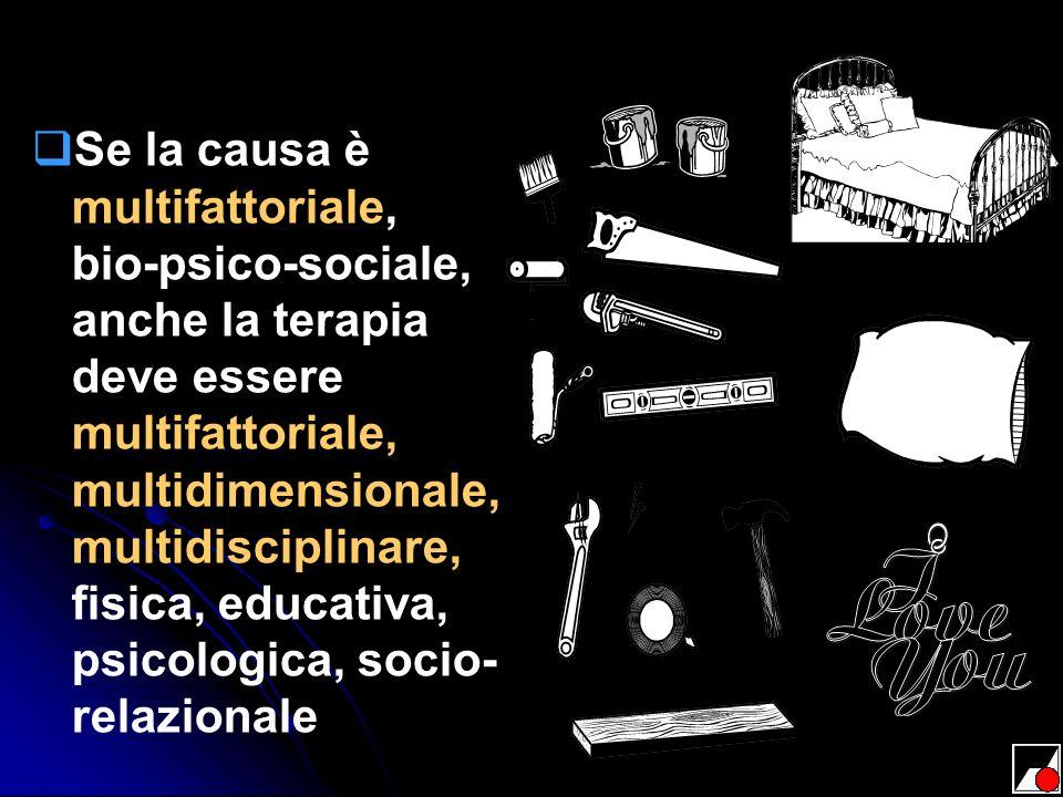 Se la causa è multifattoriale, bio-psico-sociale, anche la terapia deve essere multifattoriale, multidimensionale, multidisciplinare, fisica, educativ