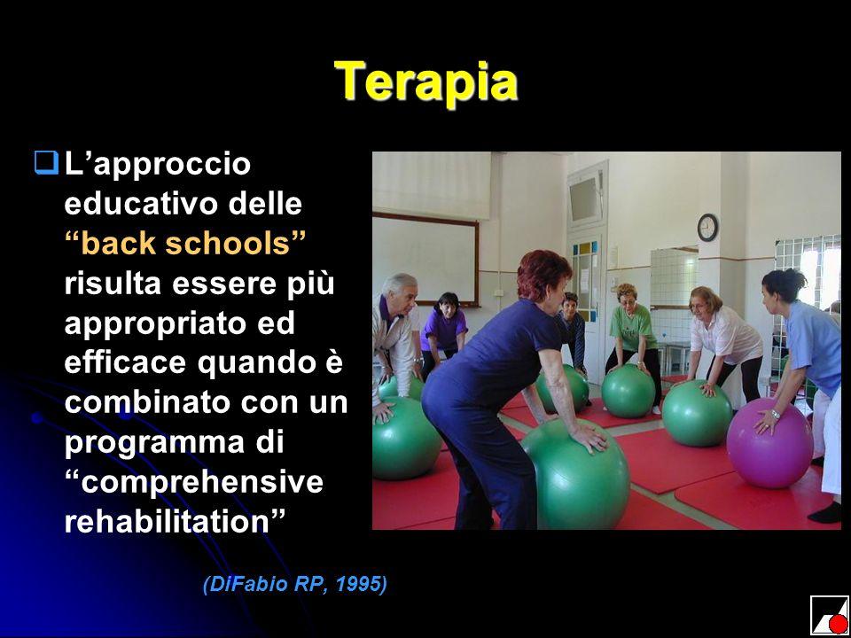 Terapia Lapproccio educativo delle back schools risulta essere più appropriato ed efficace quando è combinato con un programma di comprehensive rehabi