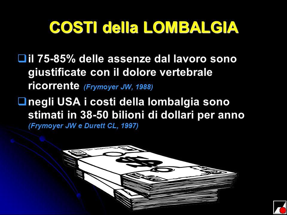 COSTI della LOMBALGIA il 75-85% delle assenze dal lavoro sono giustificate con il dolore vertebrale ricorrente (Frymoyer JW, 1988) negli USA i costi d