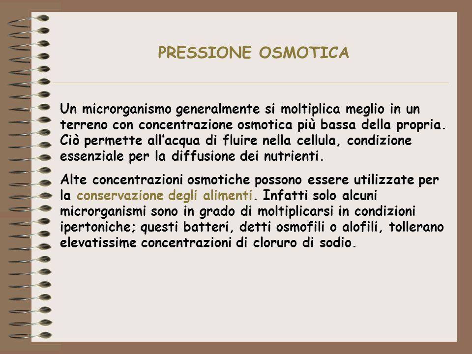 Un microrganismo generalmente si moltiplica meglio in un terreno con concentrazione osmotica più bassa della propria. Ciò permette allacqua di fluire