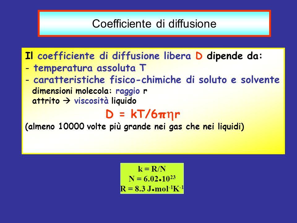 Coefficiente di diffusione Il coefficiente di diffusione libera D dipende da: - temperatura assoluta T - caratteristiche fisico-chimiche di soluto e s