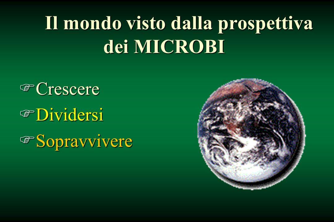 Il mondo visto dalla prospettiva dei MICROBI FCrescere FDividersi FSopravvivere