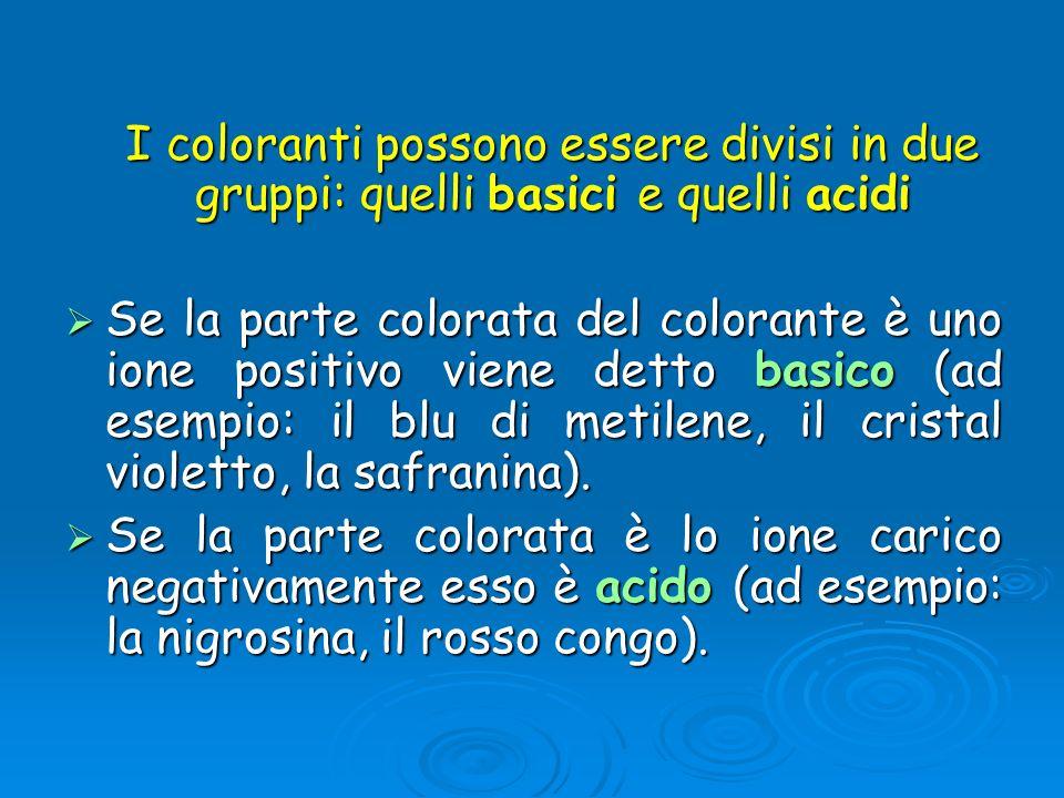 I coloranti possono essere divisi in due gruppi: quelli basici e quelli acidi I coloranti possono essere divisi in due gruppi: quelli basici e quelli