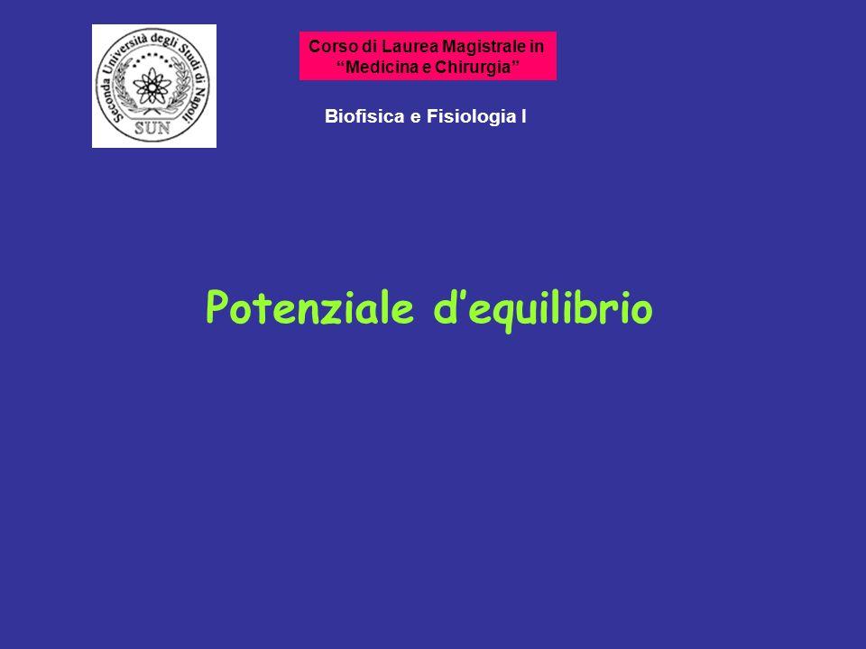 Potenziale dequilibrio Biofisica e Fisiologia I Corso di Laurea Magistrale in Medicina e Chirurgia