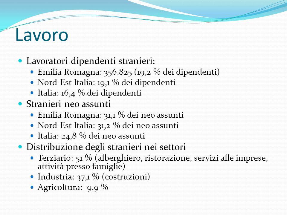Lavoro Lavoratori dipendenti stranieri: Emilia Romagna: 356.825 (19,2 % dei dipendenti) Nord-Est Italia: 19,1 % dei dipendenti Italia: 16,4 % dei dipendenti Stranieri neo assunti Emilia Romagna: 31,1 % dei neo assunti Nord-Est Italia: 31,2 % dei neo assunti Italia: 24,8 % dei neo assunti Distribuzione degli stranieri nei settori Terziario: 51 % (alberghiero, ristorazione, servizi alle imprese, attività presso famiglie) Industria: 37,1 % (costruzioni) Agricoltura: 9,9 %