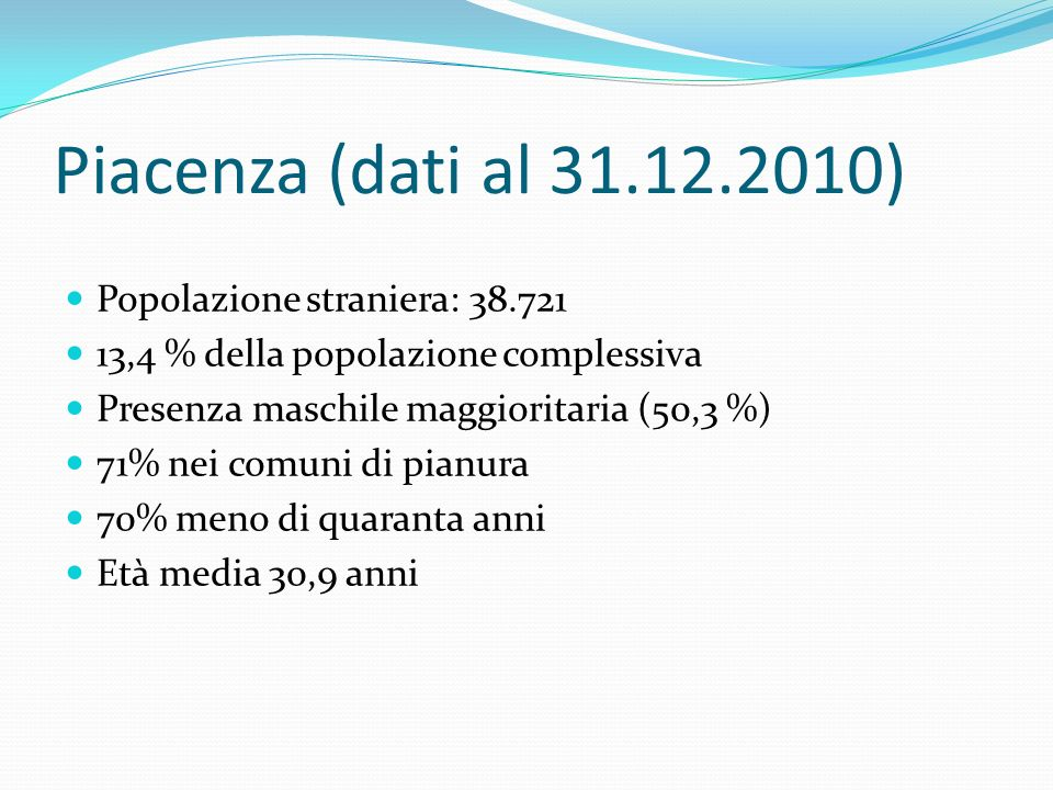 Piacenza (dati al 31.12.2010) Popolazione straniera: 38.721 13,4 % della popolazione complessiva Presenza maschile maggioritaria (50,3 %) 71% nei comuni di pianura 70% meno di quaranta anni Età media 30,9 anni