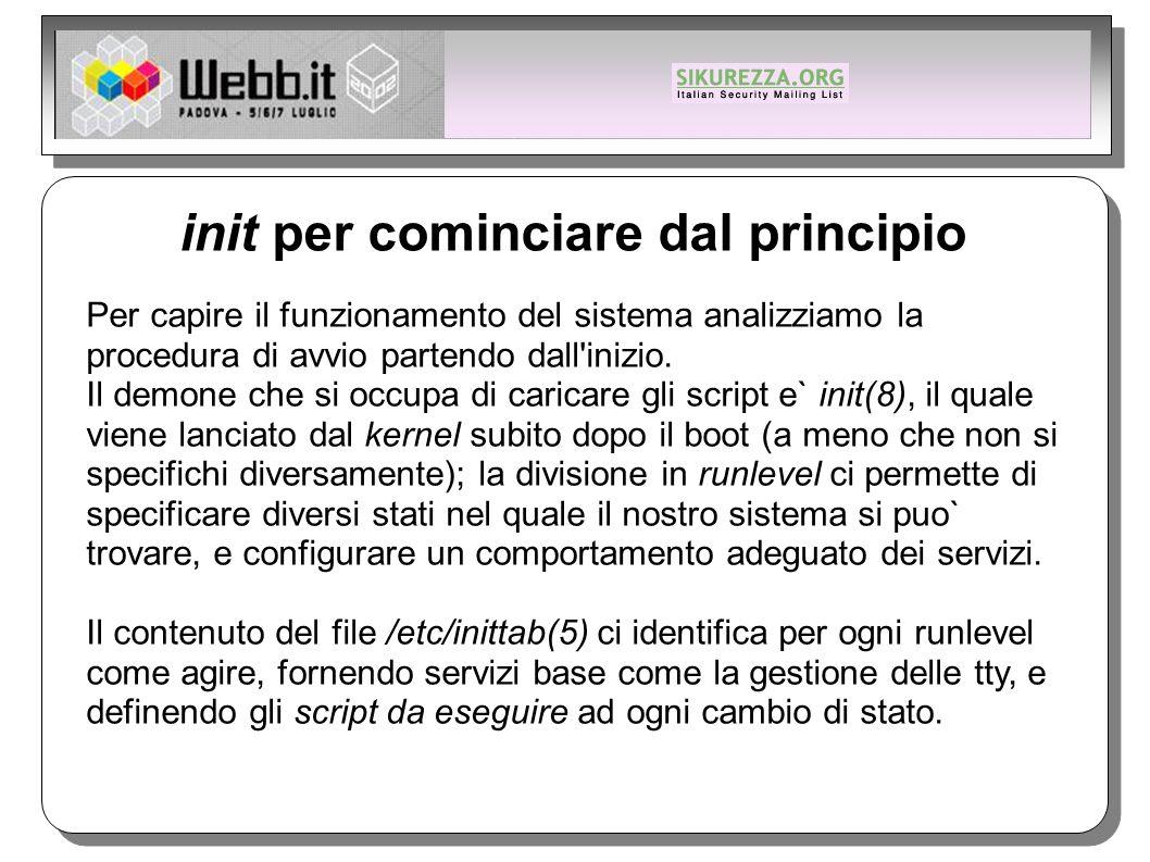 init per cominciare dal principio Per capire il funzionamento del sistema analizziamo la procedura di avvio partendo dall inizio.