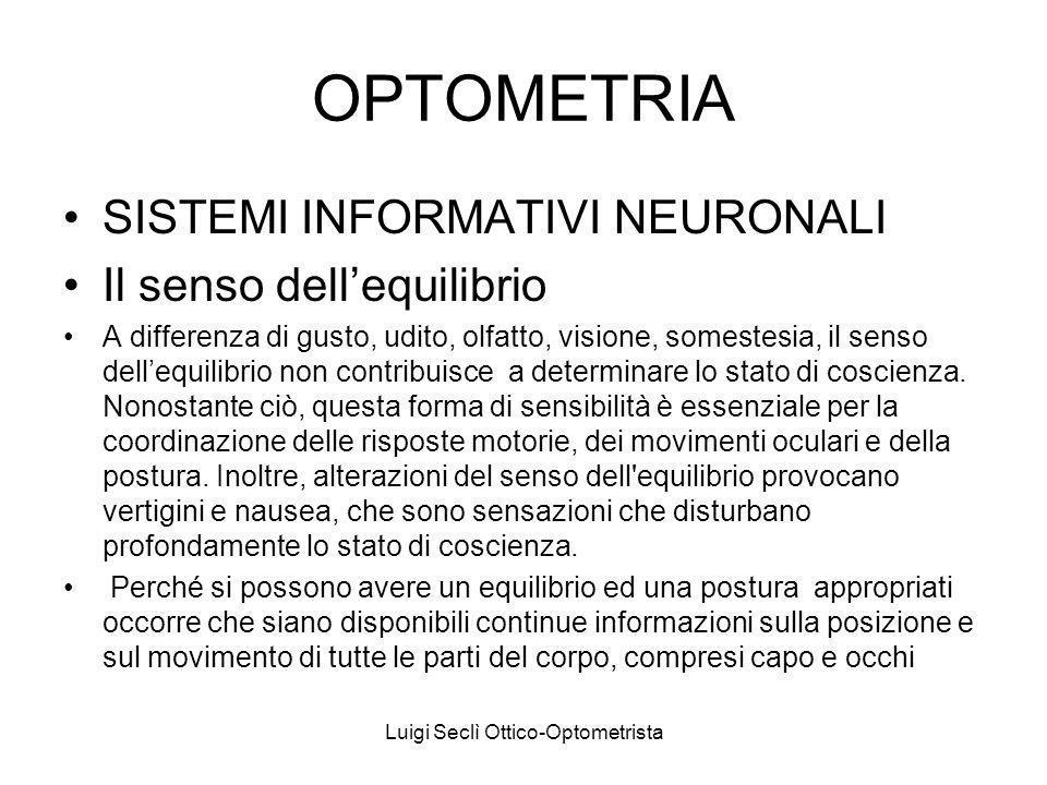 Luigi Seclì Ottico-Optometrista OPTOMETRIA SISTEMI INFORMATIVI NEURONALI Il senso dellequilibrio A differenza di gusto, udito, olfatto, visione, somestesia, il senso dellequilibrio non contribuisce a determinare lo stato di coscienza.