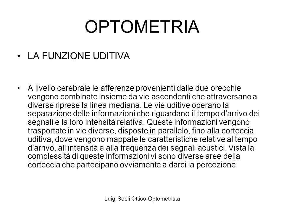 Luigi Seclì Ottico-Optometrista OPTOMETRIA LA FUNZIONE UDITIVA A livello cerebrale le afferenze provenienti dalle due orecchie vengono combinate insieme da vie ascendenti che attraversano a diverse riprese la linea mediana.