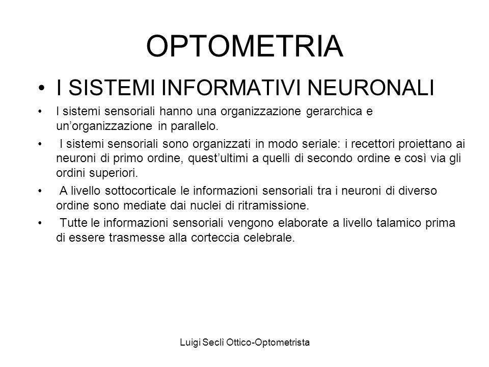 Luigi Seclì Ottico-Optometrista OPTOMETRIA I SISTEMI INFORMATIVI NEURONALI I sistemi sensoriali hanno una organizzazione gerarchica e unorganizzazione in parallelo.