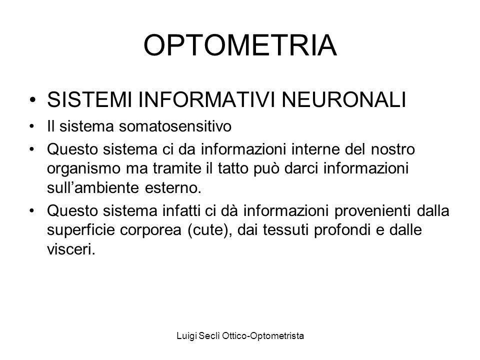 Luigi Seclì Ottico-Optometrista OPTOMETRIA SISTEMI INFORMATIVI NEURONALI Il sistema somatosensitivo Questo sistema ci da informazioni interne del nostro organismo ma tramite il tatto può darci informazioni sullambiente esterno.