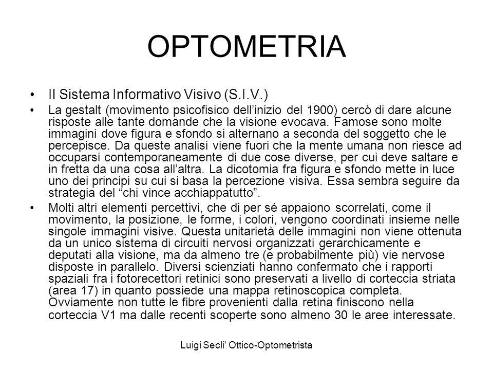 Luigi Secli' Ottico-Optometrista OPTOMETRIA Il Sistema Informativo Visivo (S.I.V.) La gestalt (movimento psicofisico dellinizio del 1900) cercò di dar
