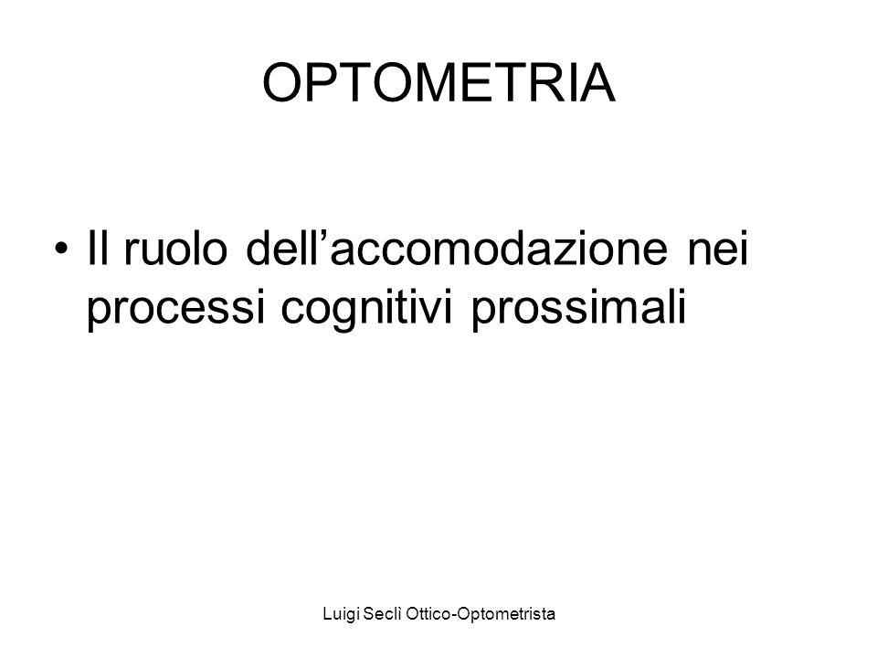 OPTOMETRIA Il ruolo dellaccomodazione nei processi cognitivi prossimali Luigi Seclì Ottico-Optometrista