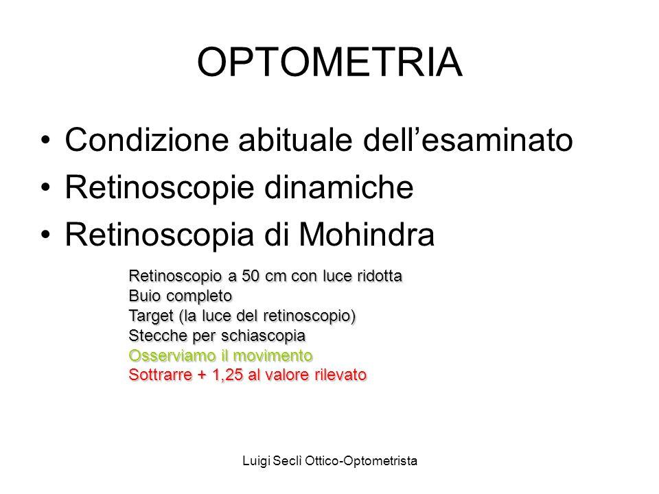 Luigi Seclì Ottico-Optometrista OPTOMETRIA Condizione abituale dellesaminato Retinoscopie dinamiche Retinoscopia di Mohindra Retinoscopio a 50 cm con luce ridotta Buio completo Target (la luce del retinoscopio) Stecche per schiascopia Osserviamo il movimento Sottrarre + 1,25 al valore rilevato
