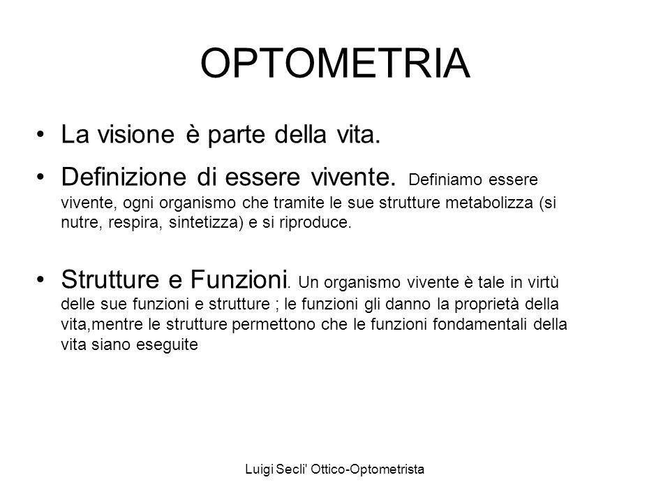 Luigi Secli' Ottico-Optometrista OPTOMETRIA La visione è parte della vita. Definizione di essere vivente. Definiamo essere vivente, ogni organismo che