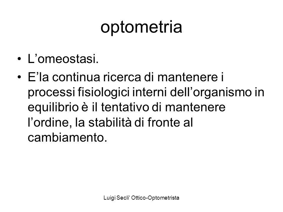 Luigi Secli' Ottico-Optometrista optometria Lomeostasi. Ela continua ricerca di mantenere i processi fisiologici interni dellorganismo in equilibrio è