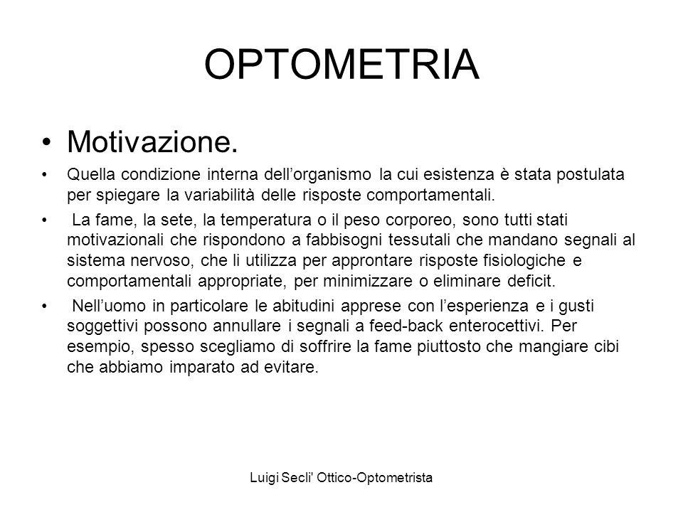 Luigi Secli' Ottico-Optometrista OPTOMETRIA Motivazione. Quella condizione interna dellorganismo la cui esistenza è stata postulata per spiegare la va