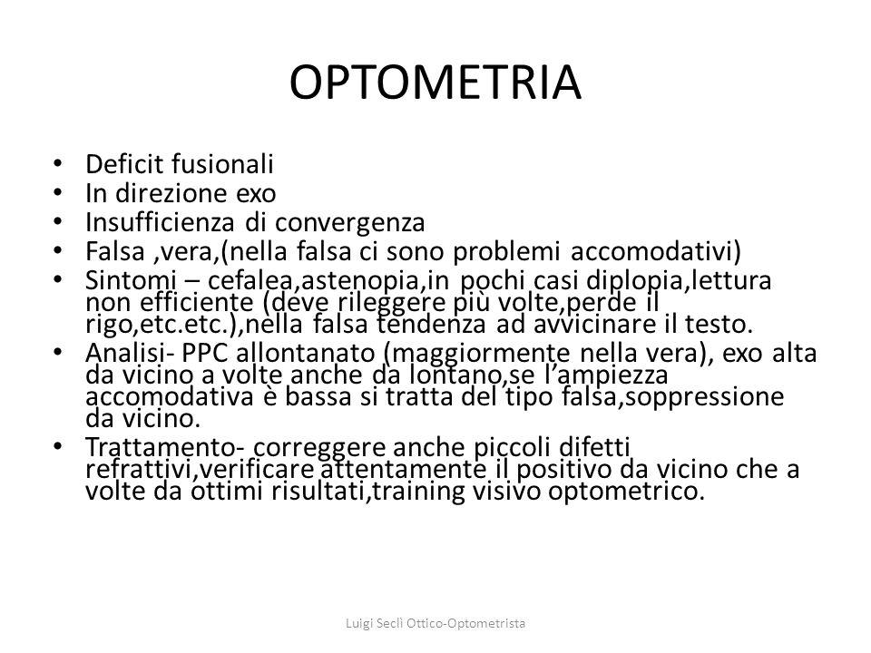 OPTOMETRIA Deficit fusionali In direzione exo Insufficienza di convergenza Falsa,vera,(nella falsa ci sono problemi accomodativi) Sintomi – cefalea,as