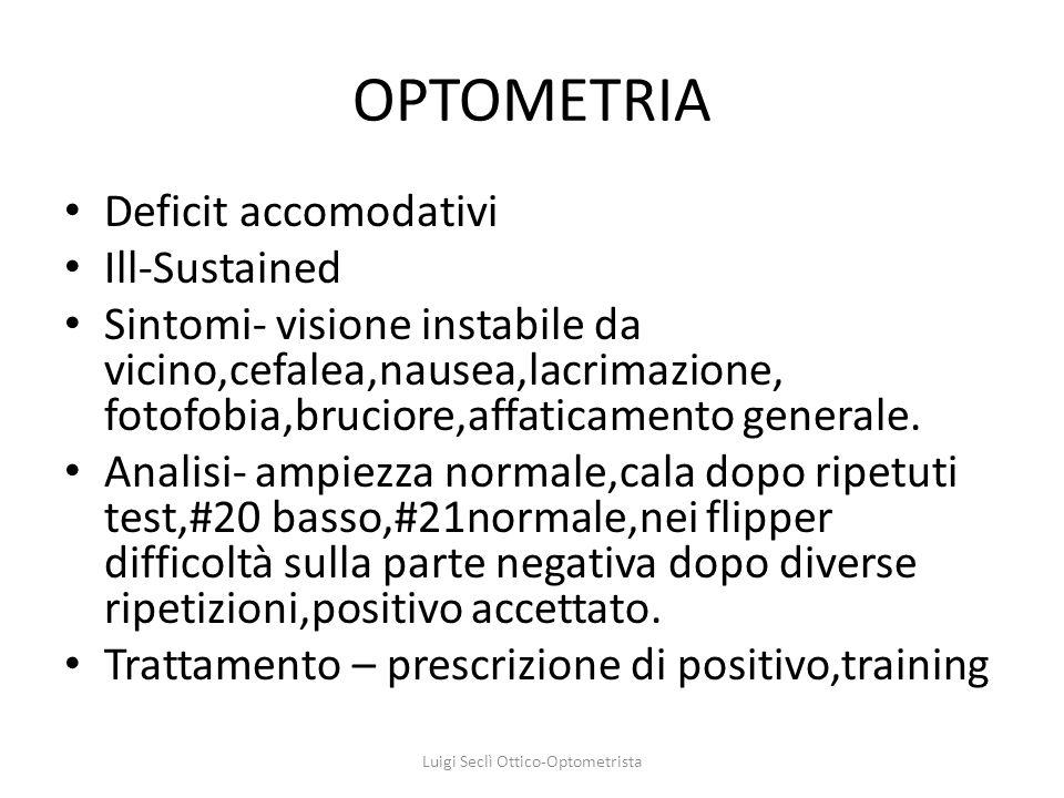 OPTOMETRIA Deficit accomodativi Ill-Sustained Sintomi- visione instabile da vicino,cefalea,nausea,lacrimazione, fotofobia,bruciore,affaticamento gener