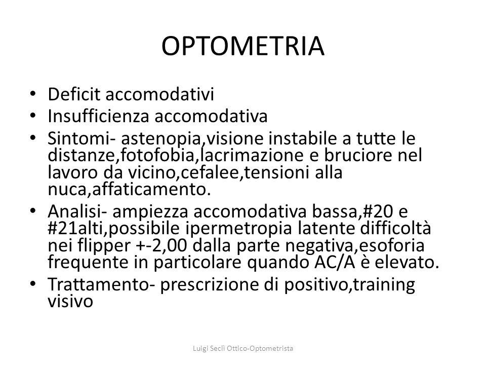 OPTOMETRIA Deficit accomodativi Insufficienza accomodativa Sintomi- astenopia,visione instabile a tutte le distanze,fotofobia,lacrimazione e bruciore