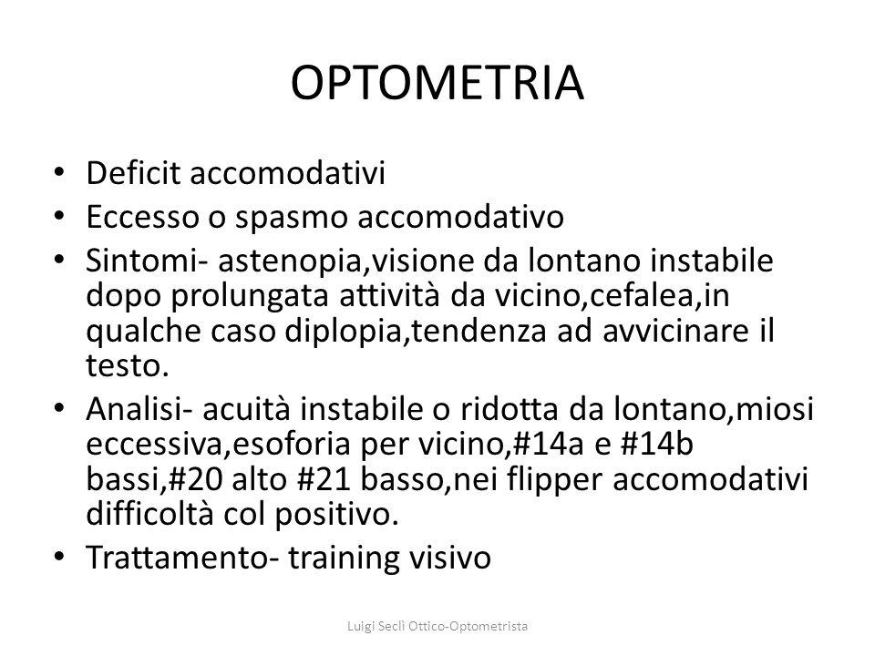 OPTOMETRIA Deficit accomodativi Eccesso o spasmo accomodativo Sintomi- astenopia,visione da lontano instabile dopo prolungata attività da vicino,cefal