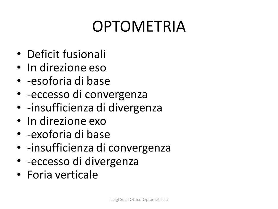 OPTOMETRIA Deficit fusionali In direzione eso -esoforia di base -eccesso di convergenza -insufficienza di divergenza In direzione exo -exoforia di bas